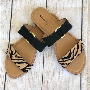 Black and tiger print sandal